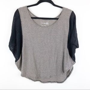 We the free striped lace sleeve circle top